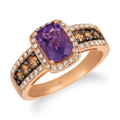 14K Strawberry Gold® Grape Amethyst™ 1  1/4 cts. Ring with Chocolate Diamonds® 1/3 cts., Nude Diamonds™ 1/3 cts. | YRFS 11